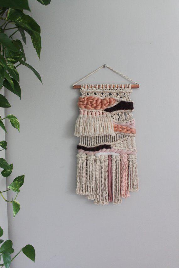 Peach Macrame Woven Wall Hanging Macraweave Weaving Tapestry