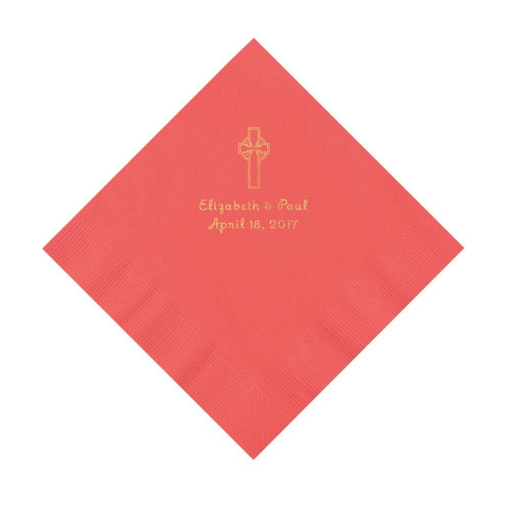 Coral Religious Wedding Personalized Napkins With Gold Ink