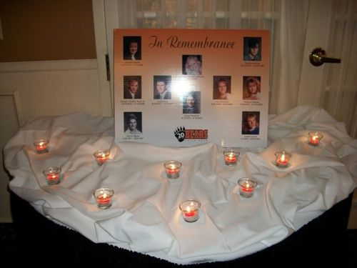 high school reunion centerpiece ideas this one looks like a really pretty in memory table