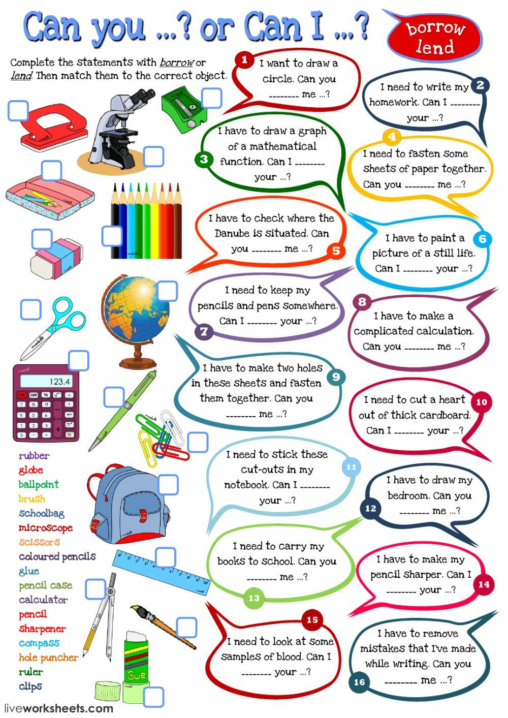 school objects interactive and downloadable worksheet. You can do ...