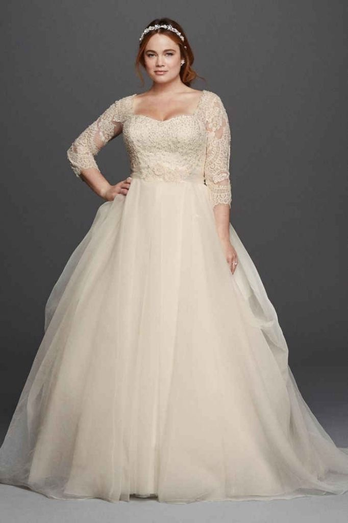 cb5592651b89 David's Bridal has beautiful plus size wedding dresses that come in a  variety of sizes & full figured styles for an affordable price.