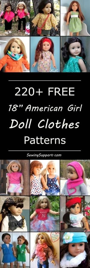 Over 200 free 18 inch, American Girl doll clothes sewing patterns ...