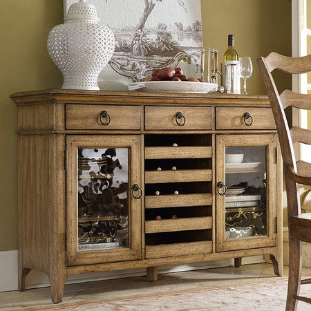 Server Sideboard With 5 Pull Out Wine Racks And 2 Glass Paneled