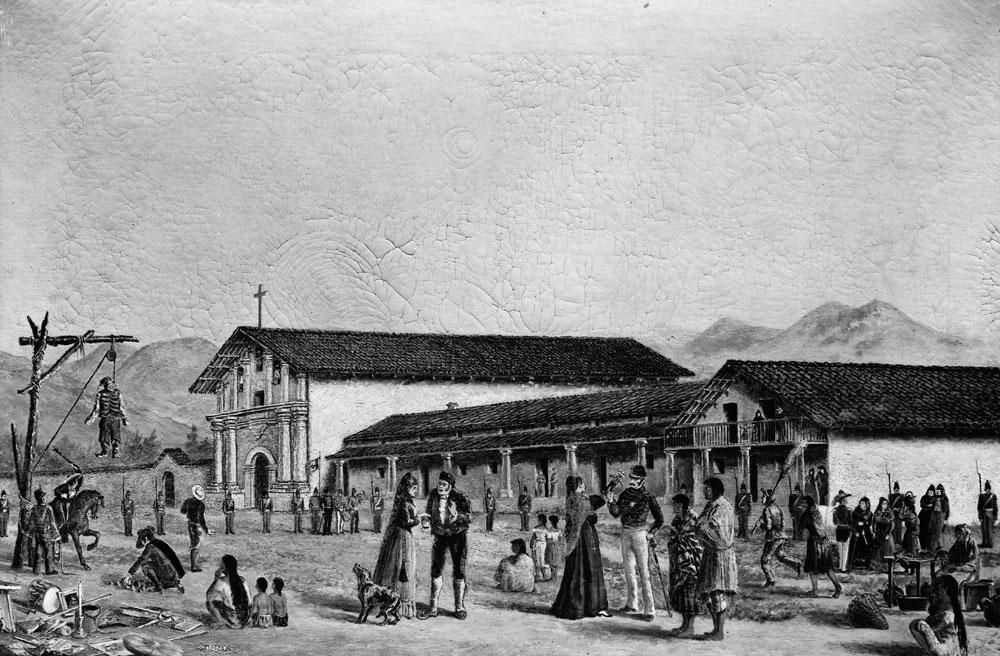 Drawing of Mission Dolores on Judas Day before 1835 by Oriana Day