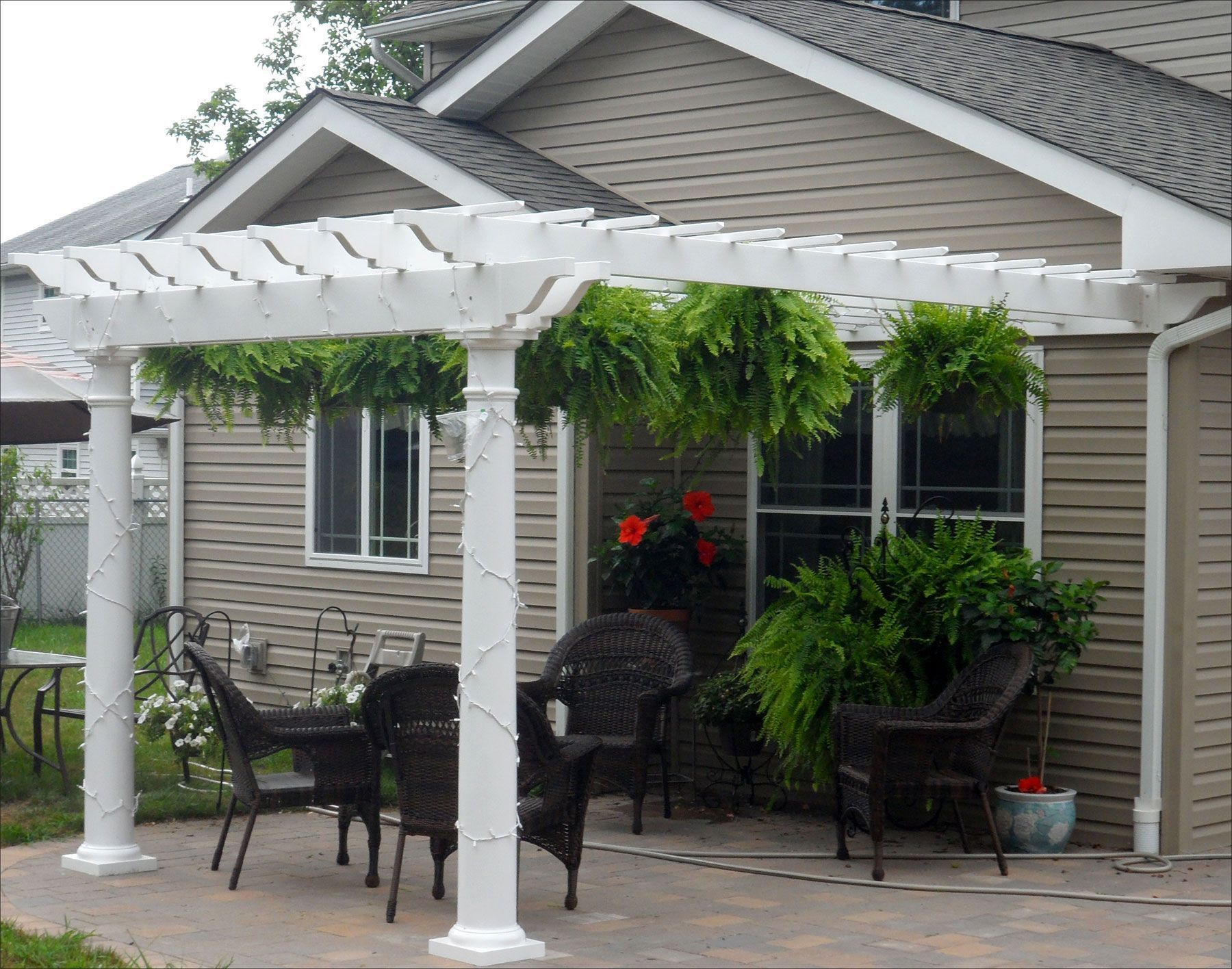 8 X 12 Vinyl 2 Beam Pergola Shown With Wall Mounted Kit No Deck 8 Round Tapered Vinyl Columns And 12 Top Runner Spacing Ide