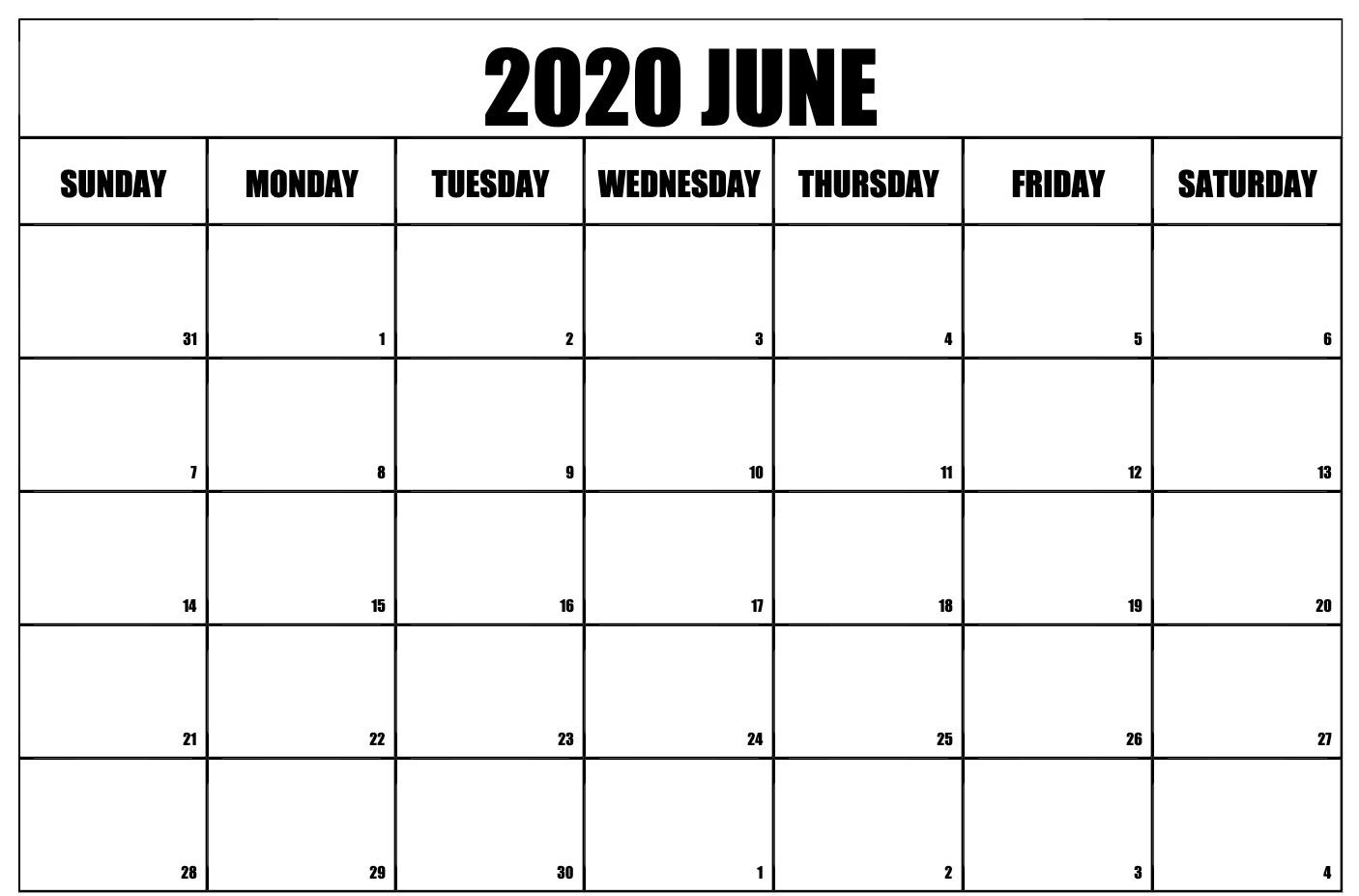 June 2020 Calendar Printable Blank Template Pdf Word Excel