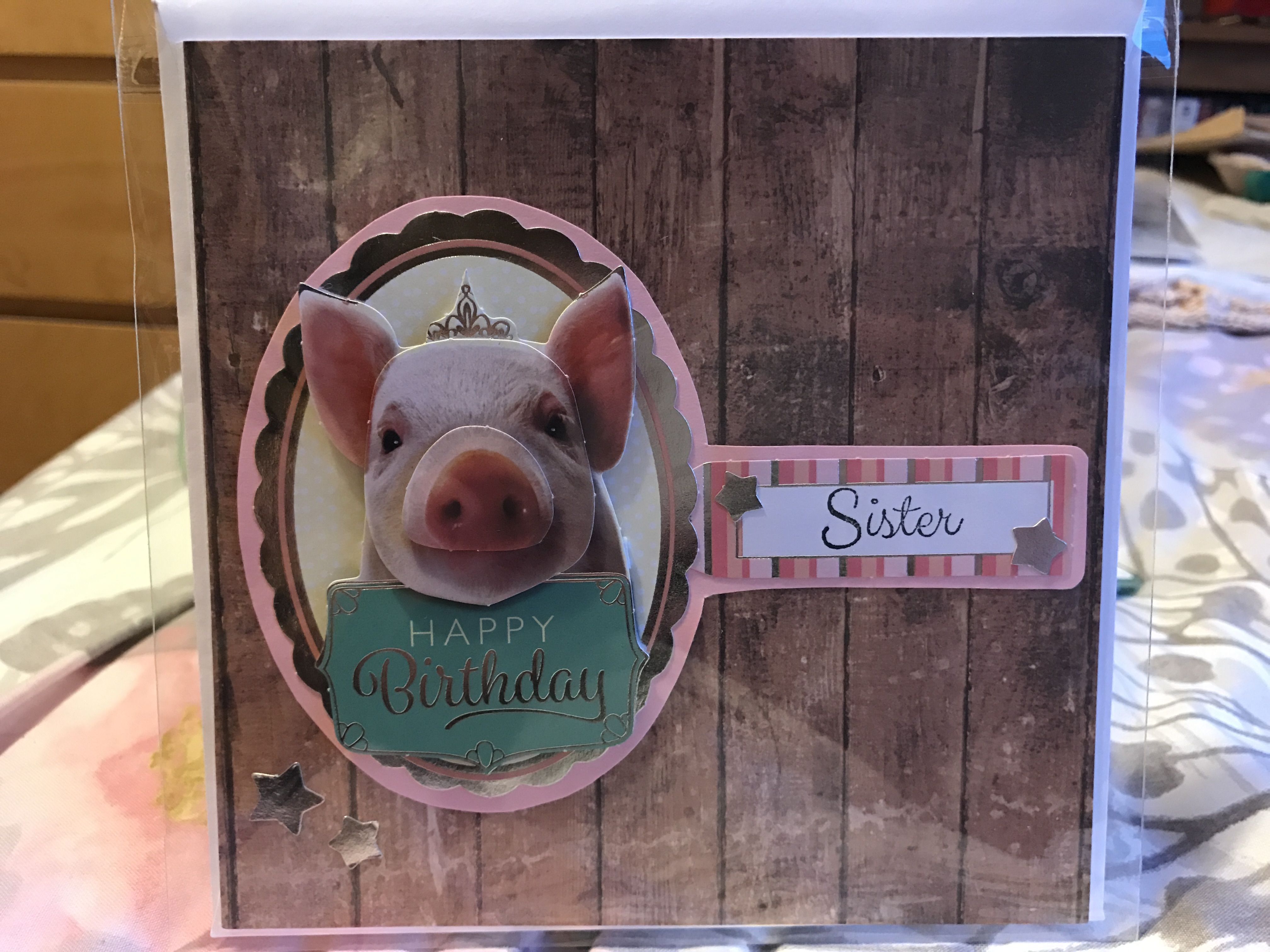 Wood Effect Princess Pig Birthday Card For Sister Handmade Cards