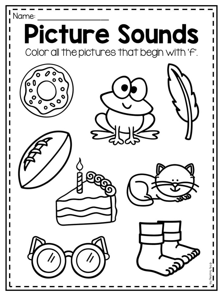 Letter F Beginning Sound Worksheet. Beginning sounds