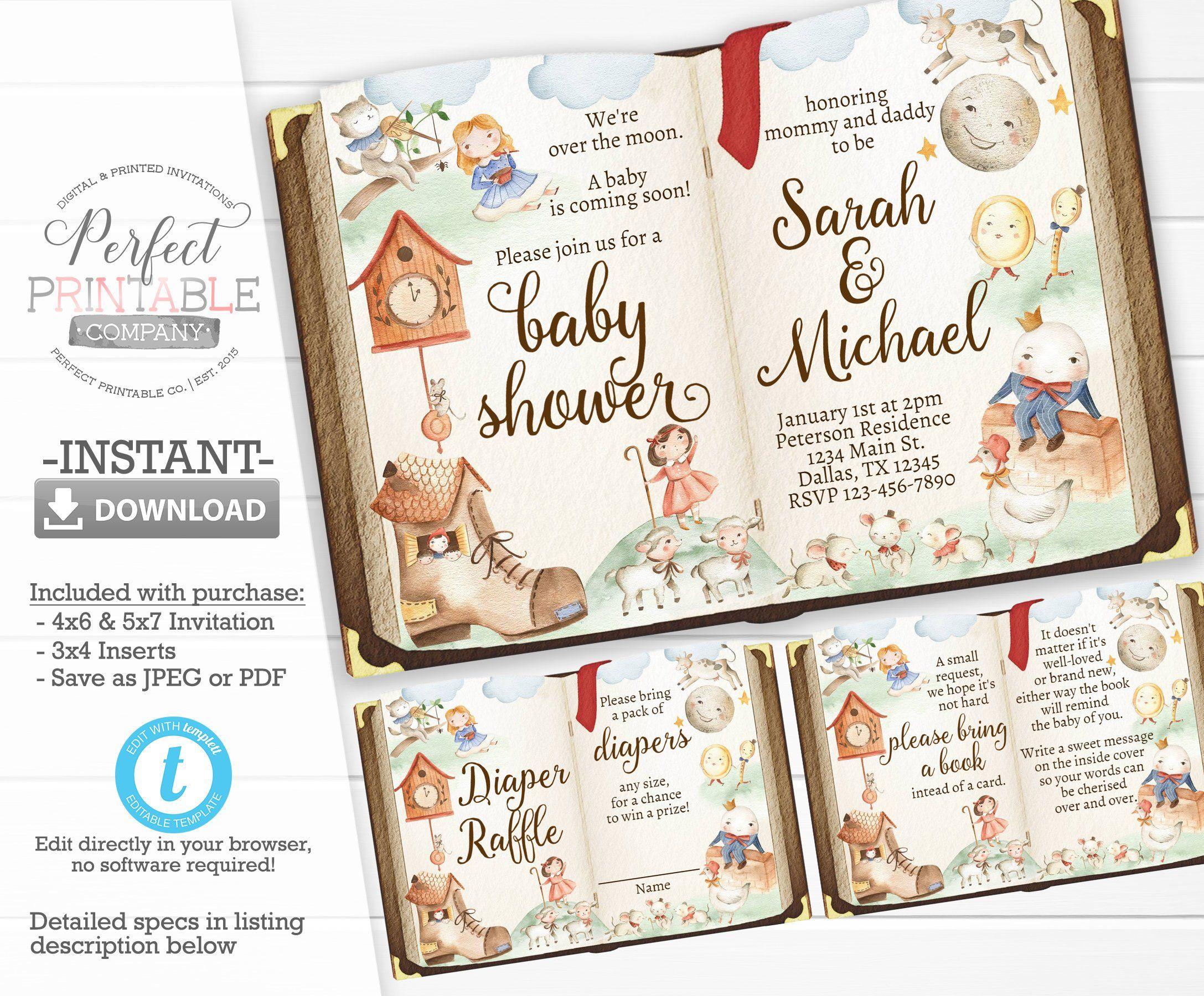 Nursery Rhyme Baby Shower Invitation Storybook Baby Shower