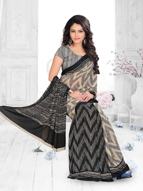 Black colour saree images black and cream georgette printed saree  regular wear sarees