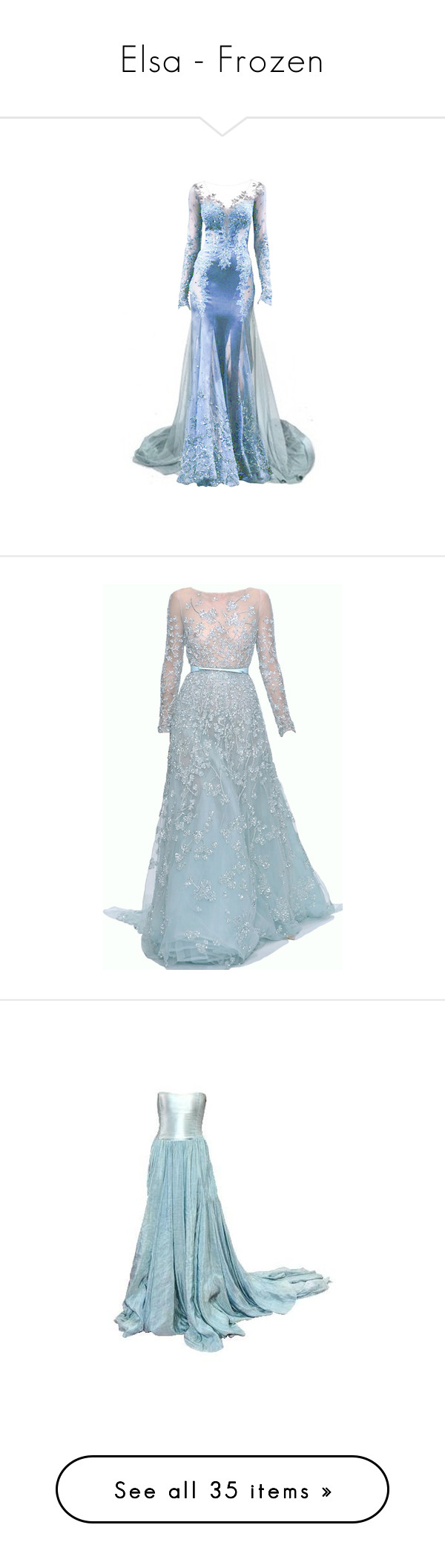 """""""Elsa - Frozen"""" by beyond-infinity444 ❤ liked on Polyvore featuring createjewels, dresses, gowns, long dresses, vestidos, blue, long blue dress, blue gown, blue dress and blue evening dresses"""