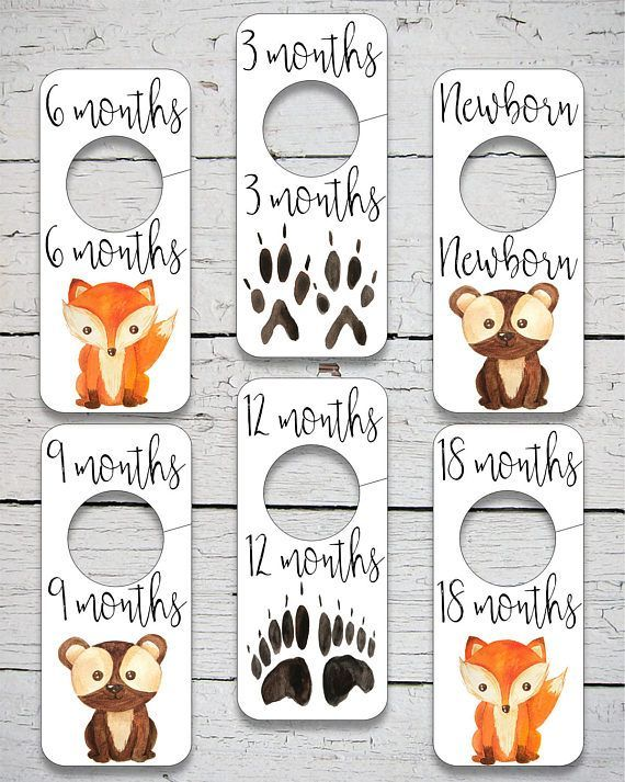 Printable Nursery Closet Divider Woodland Animals Dividers Decor Digital Print