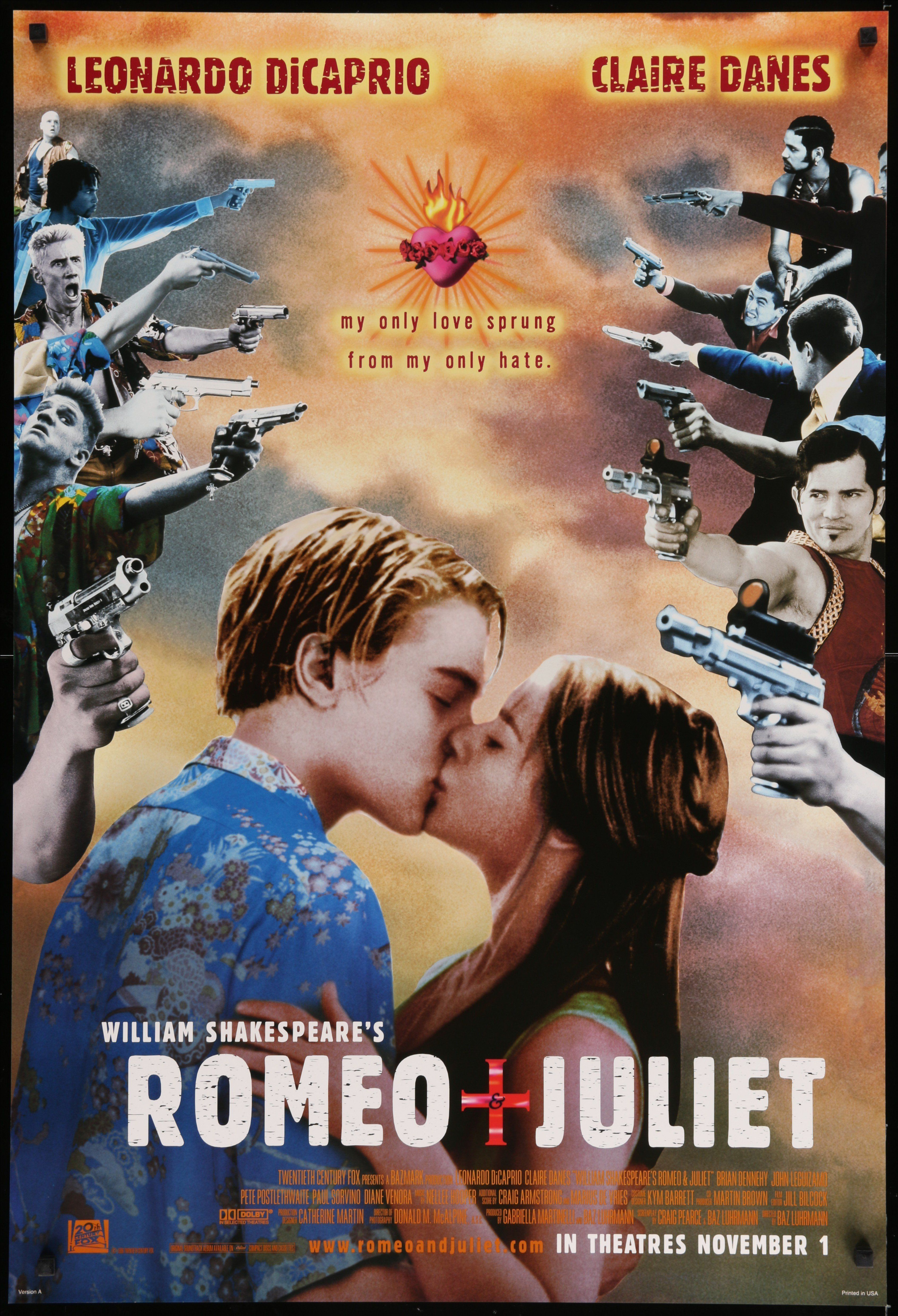 """Condition: Very Good to Excellent. Never folded! Free shipping within the UK. A low flat rate for the rest of the world. Size: 69 cm x 101 cm (27 in x 39.75 in) A guaranteed original one sheet movie poster from 1996 for Baz Luhrmann's romantic tragedy """"Romeo and Juliet"""", based on the play by William Shakespeare. A modernisation of Shakepeare's original story, the movie stars young looking Leonardo Di Caprio (as 'Romeo') and Claire Danes (as 'Juliet') as they fall in love, despite being members o"""