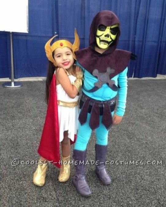 cute masters of the universe child couple costume she ra and skeletor - Universe Halloween Costume