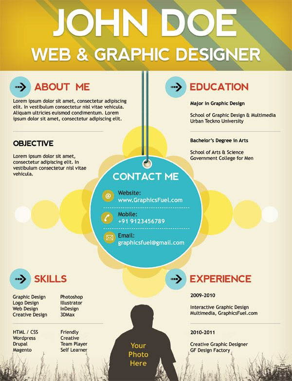 Creative resume / CV PSD template (CMYK print-ready | Web ...