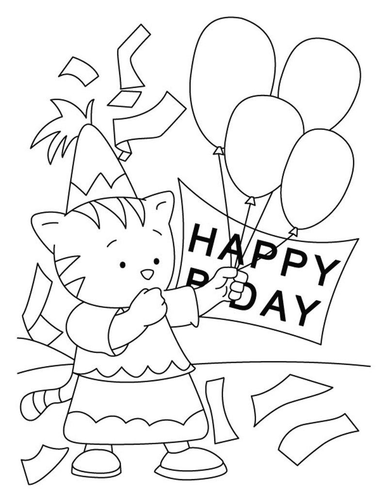 Happy Birthday Cat Coloring Pages See The Category To Find More