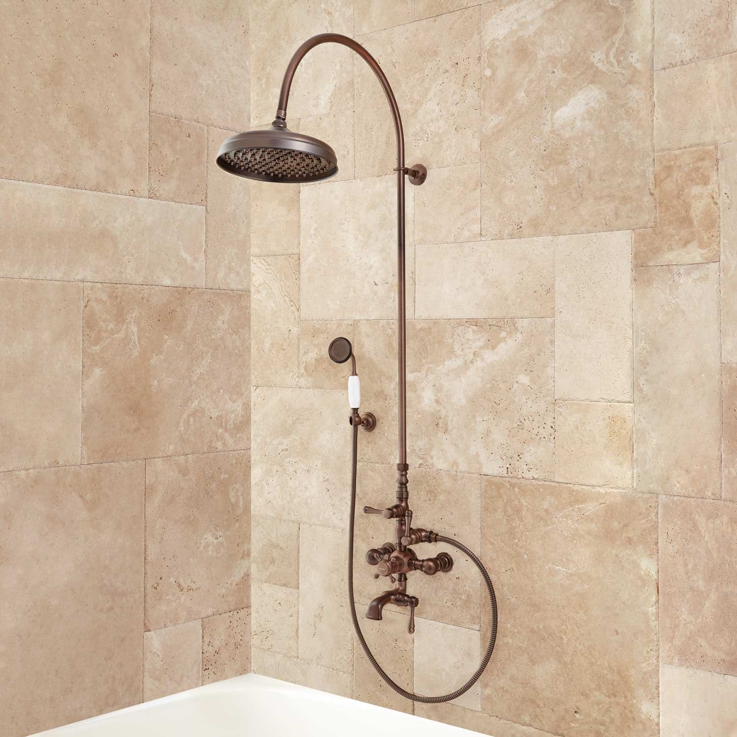 """Oxford Thermostatic Tub and Shower Set - 18"""" Arching Shower Arm and Hand Shower - 1/2"""" IPS"""