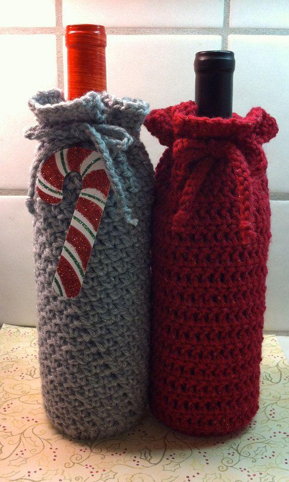 Crochet Wine Bottle Gift Bag Silver by KathysYarnCreations on Etsy ...