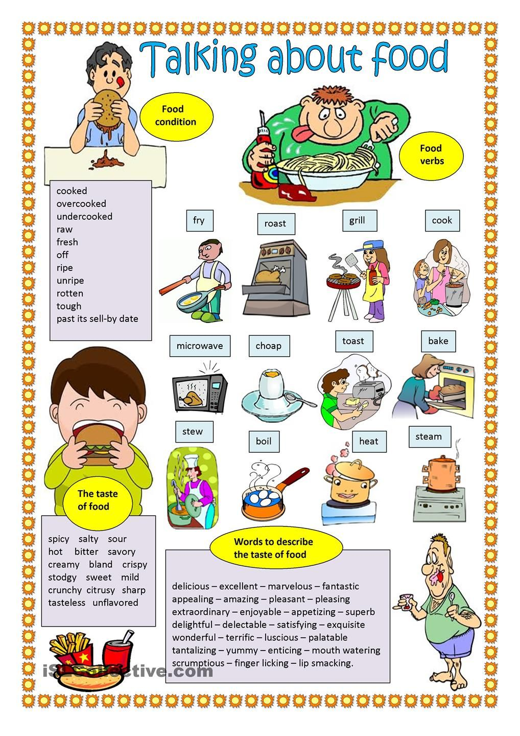 Talking About Food Free Esl Worksheets Tesol Tefl Teaching