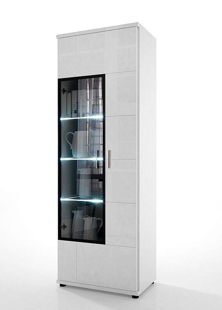 Vitrine Acorano mit 2 Türen Weiß Hochglanz 4589 Buy now at   - wohnzimmer vitrine weis hochglanz
