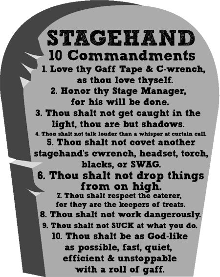 stagehand 10 commandments in 2018 rigging pinterest theatre