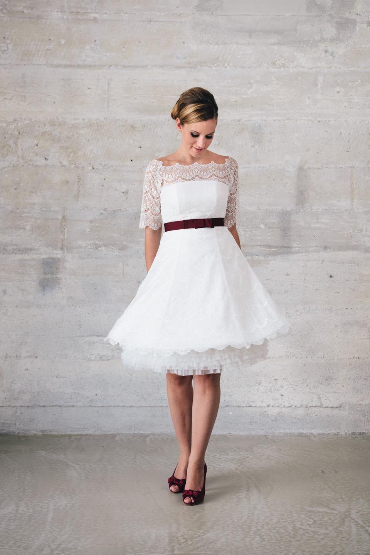 Katy, A-Linien Brautkleid mit Petticoat und Ärmeln aus Spitze von ...