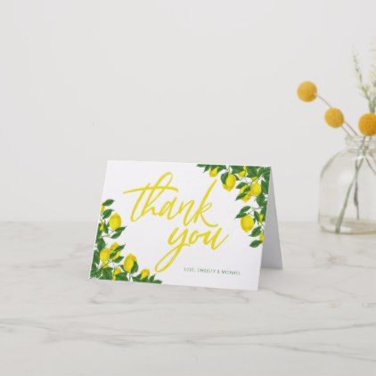 lemon watercolor summer bridal shower thank you card script gifts template templates diy customize personalize special