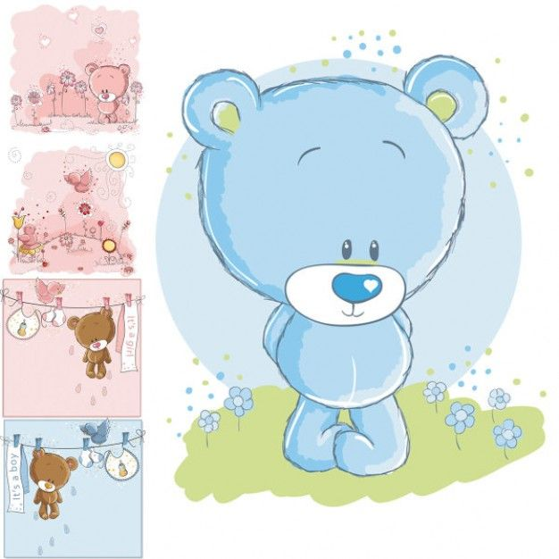 Lindo oso de dibujos animados de vectores bebes - Dibujos pared bebe ...
