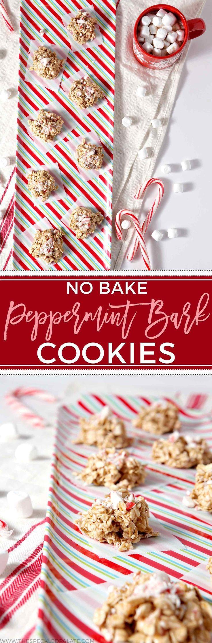 No Bake Peppermint Bark Cookies #quickcookies
