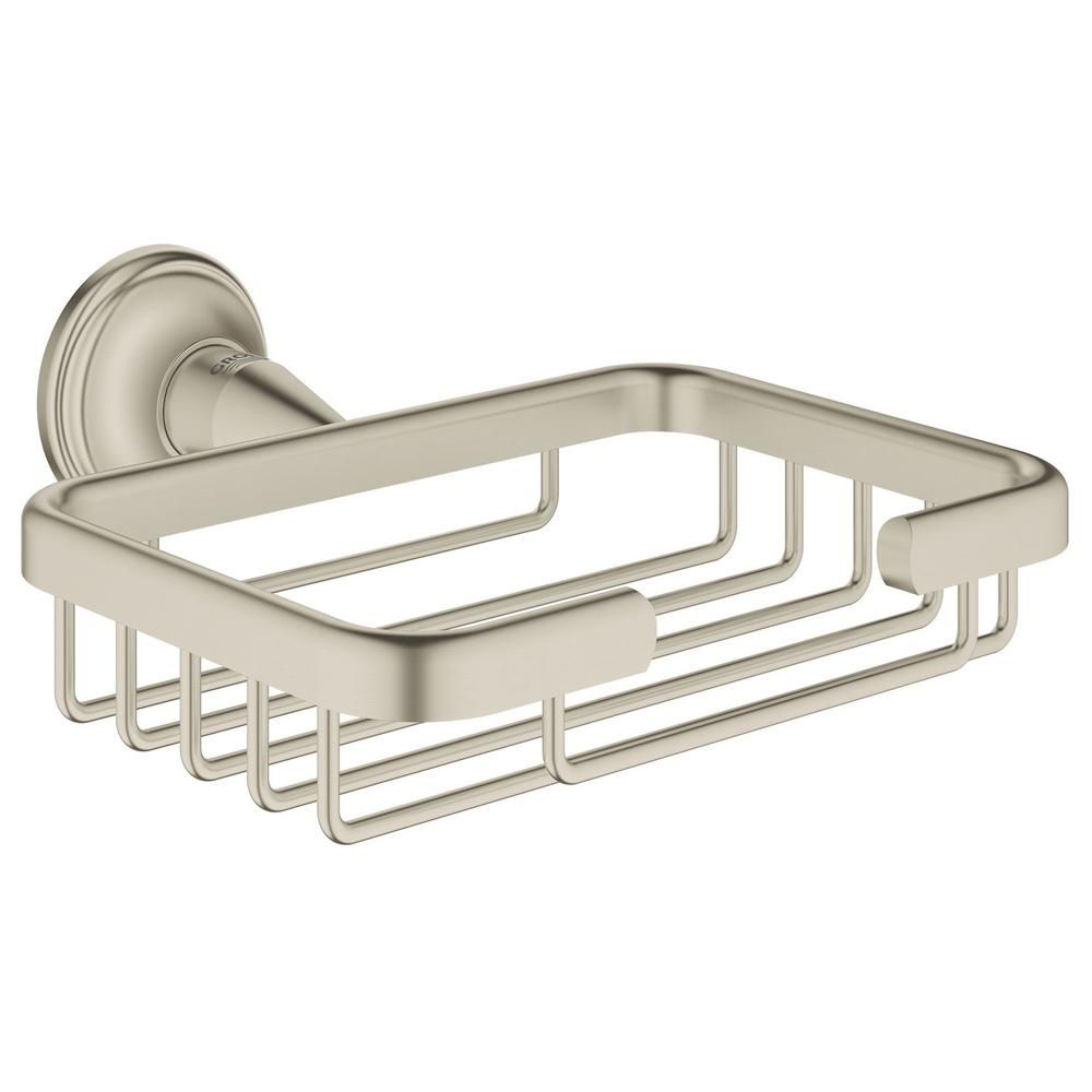 Grohe Essentials Authentic Filing Basket In Starlight Chrome 40659001 The Home Depot Dish Soap Bathtub Accessories Grohe