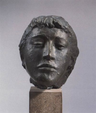 Giacomo Manzú (Italy 1908–1991), Head of Inge, bronze, 1957. Manzú's sculptures were not only representational, but symbolic of universal meaning. A shoemaker's son, he apprenticed as a craftsman at 13, learning to work with wood, stone, and plaster. Unexposed to contemporary art, he was captivated by classical sculpture, Michelangelo, and Aristide Maillol's figures, which he found in books. In 1929 he moved to Milan and began his first sculptures, many of which he would ultimately destroy.