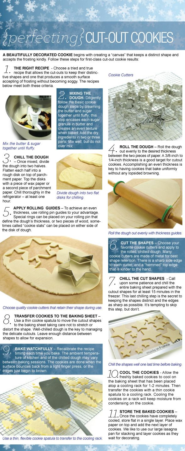 Perfecting Cut-out Cookies ~T~ A How-to for Making a Perfect Cookie Canvas for Decorating. Great info. #cookietips