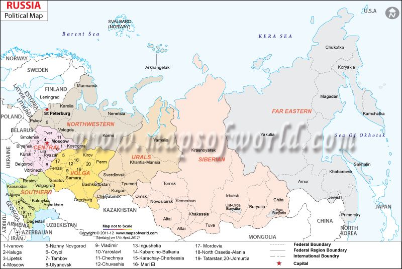 Russia Map Showing Regions States Cities Capitals Federal - Russian cities map