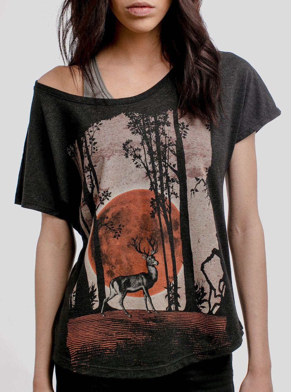 3fc7536c Buck Moon - Multicolor on Heather Black Triblend Womens Dolman T Shirt