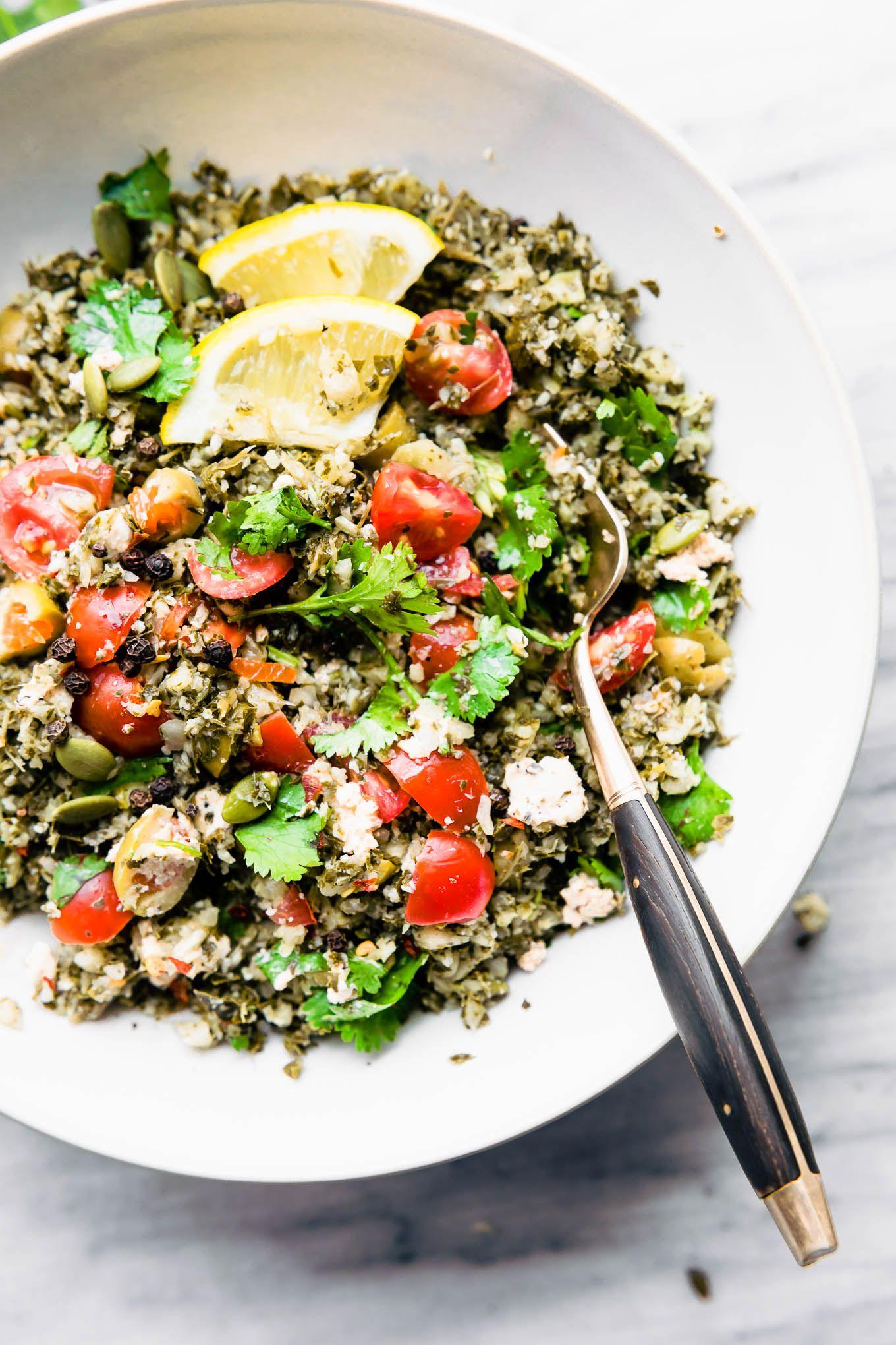 Greek Cauliflower Salad Bowls Low Carb Vegetarian Recipe Cauliflower Salad Greek Recipes Cauliflower