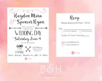 Pink Rustic Wedding Invitation Printable Custom Invite Blush Heart Key