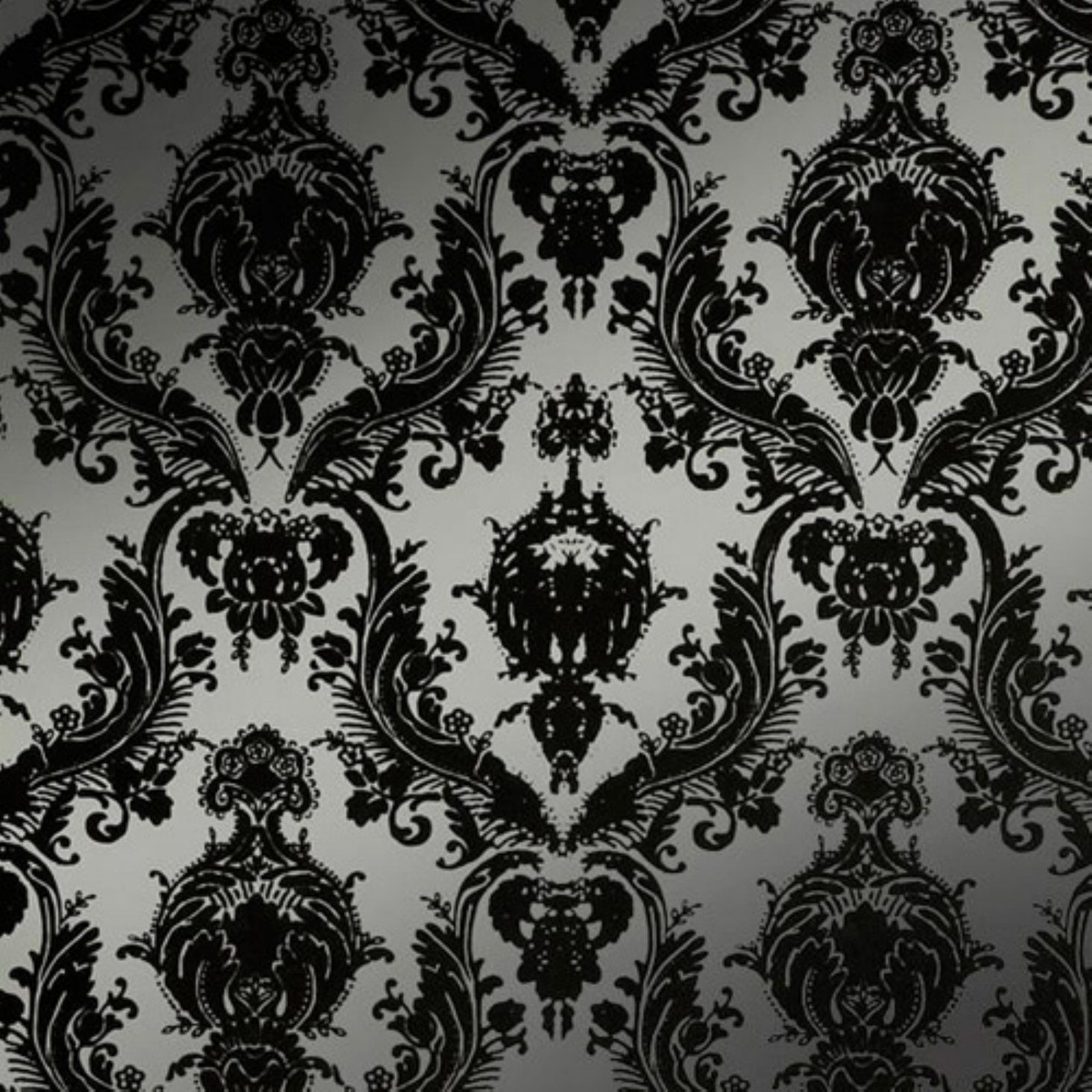 Seriously considering redoing the bathroom walls with this for Black white damask wallpaper mural