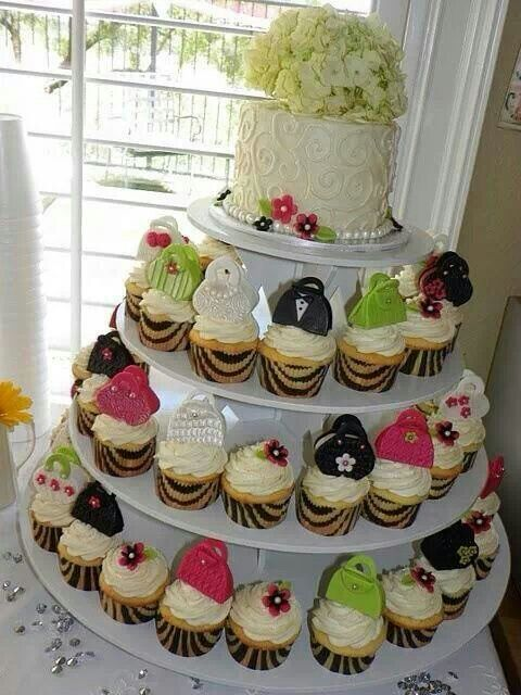 Cupcakes for a wedding cake.