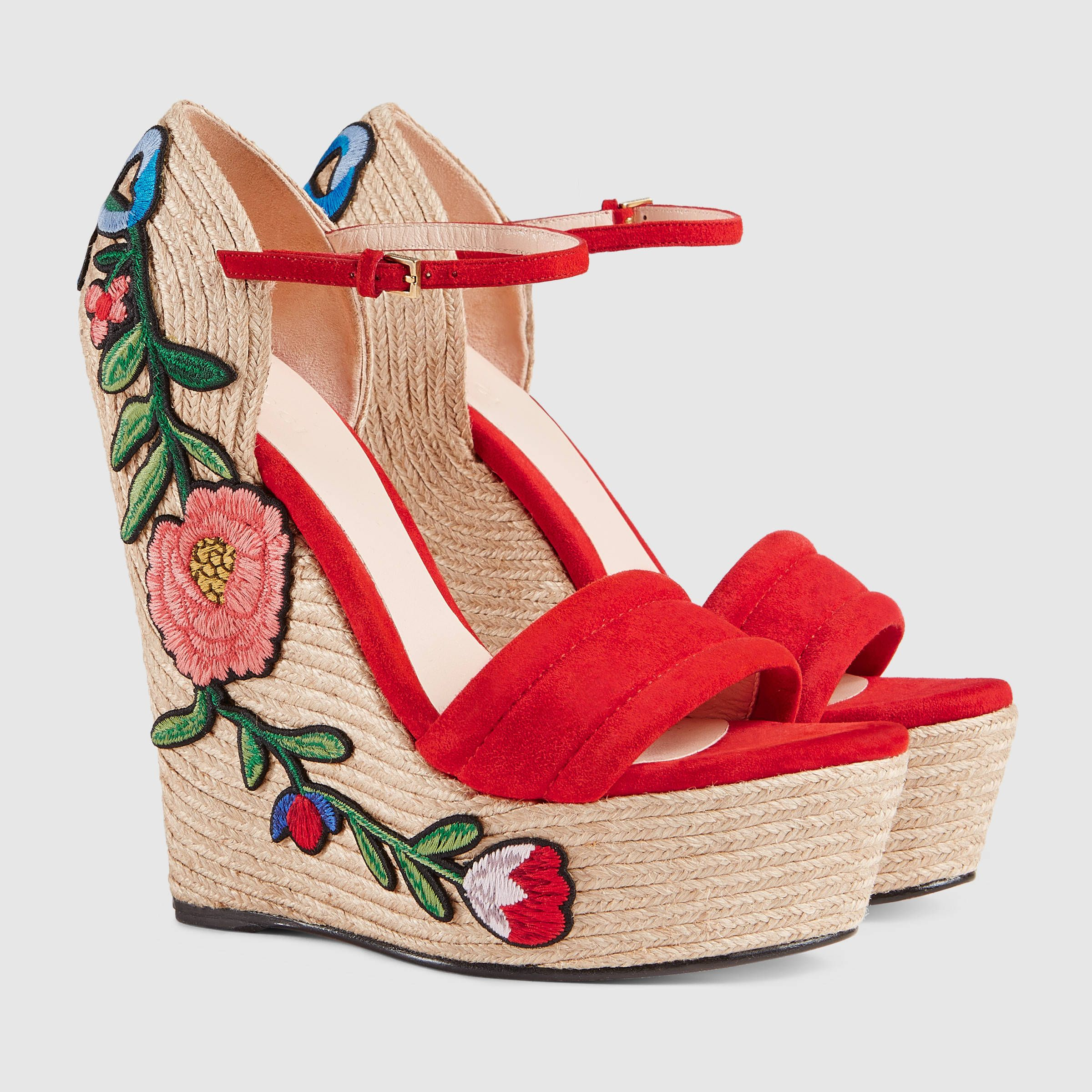 c162b649a6f Embroidered suede platform espadrille - Gucci Women s Sandals  454303C20006433