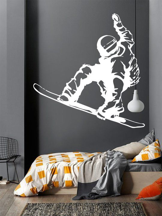 Wall Decal Sticker Bedroom Snowboarding Winter Snow Sport Boys