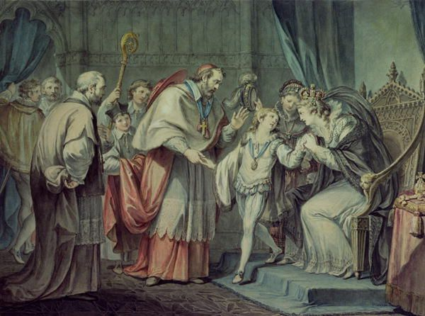 Richard, Duke of York, taking leave of his Mother, Elizabeth Wydeville, in Sanctuary, Westminster, by Giovanni Battista Cipriani.