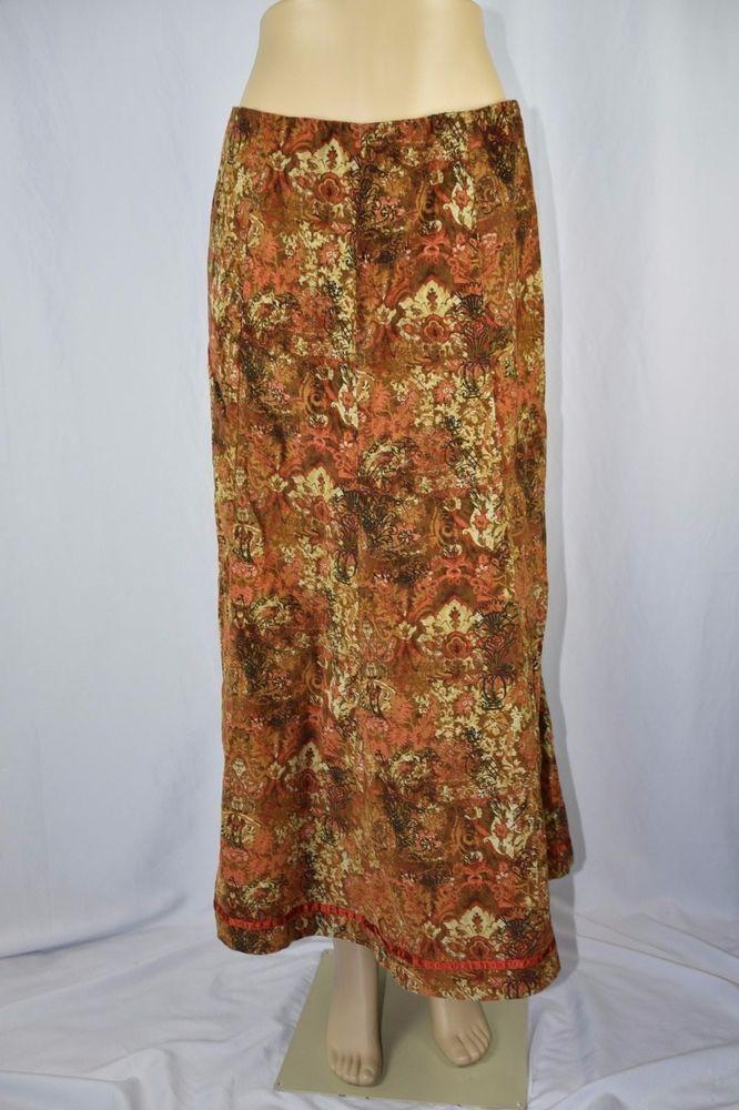Chadwick's Womens 12 Brown Orange Gold Flower Paisley Corduroy Long Skirt Modest #Chadwicks #ALine