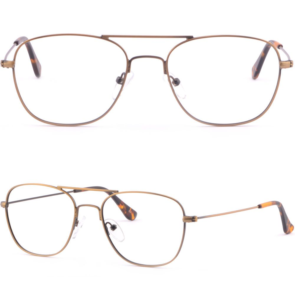 Light Men Women Double Bridge Metal Frame Prescription Glasses ...