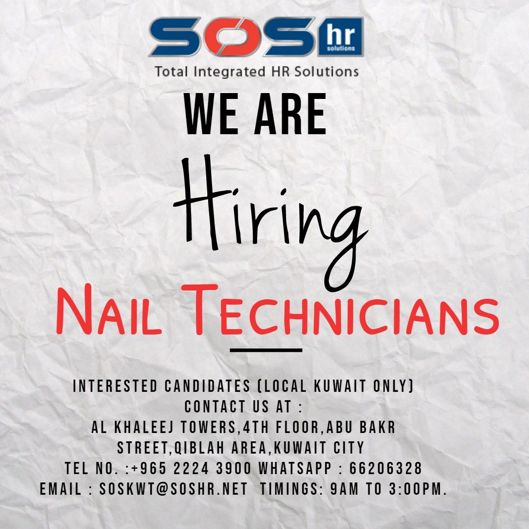 We are currently looking to hire Nail technicians to work