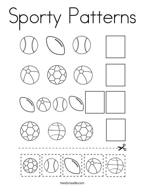 Sporty Patterns Coloring Page - Twisty Noodle in 2020 ...