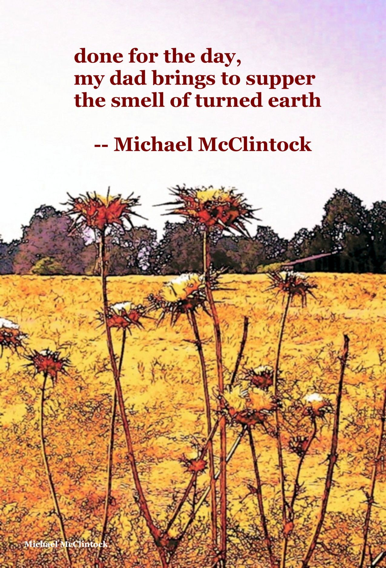 Haiku poem: done for the day,-- by Michael McClintock.