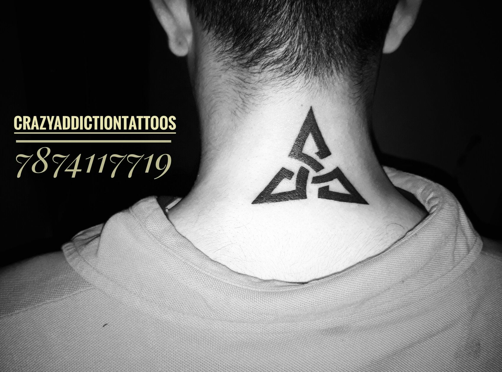 triangle tattoos on neck tattoo by rohit panchal at crazy addiction tattoos vadodara india. Black Bedroom Furniture Sets. Home Design Ideas