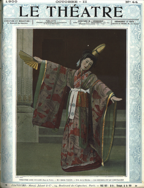 "taishou-kun: "" Kawakami Sadayakko 川上 貞奴 (1871-1946) on cover of Le théatre magazine as playing the Geisha in ""La geisha et le chevalier"" (The geisha and the knight) - France - October 1900 """