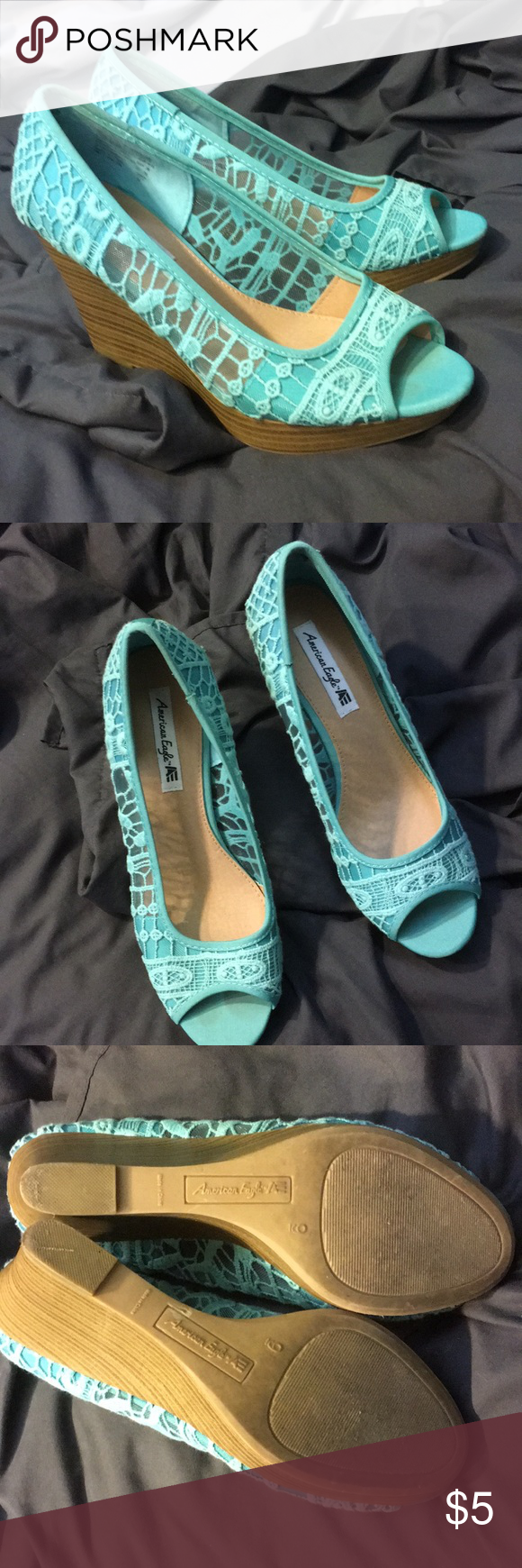 a25236336a78 Blue lace wedge Size 9 worn a few hours for grad party. American Eagle By Payless  Shoes Wedges
