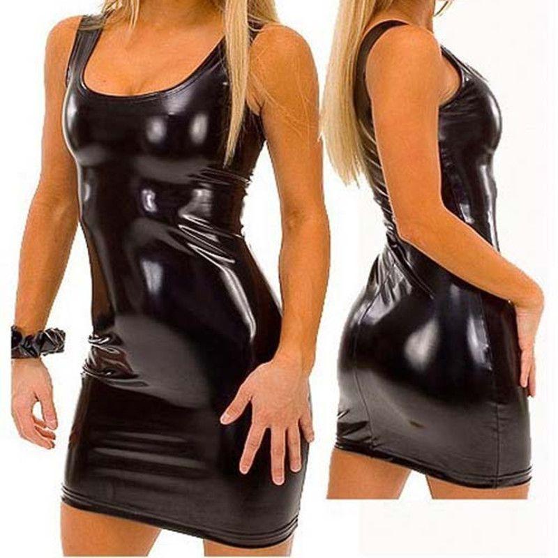 a180b455da S XXXL Women PVC Bandage Dress Latex Patent Leather Dress Sexy Party  Bodycon Women s Wet Look Clubwear Mini Dress Black Catsuit-in Dresses from  Women s ...